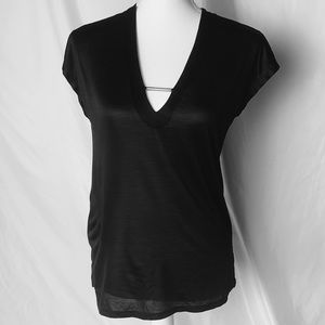 Zara black short sleeve blouse size medium
